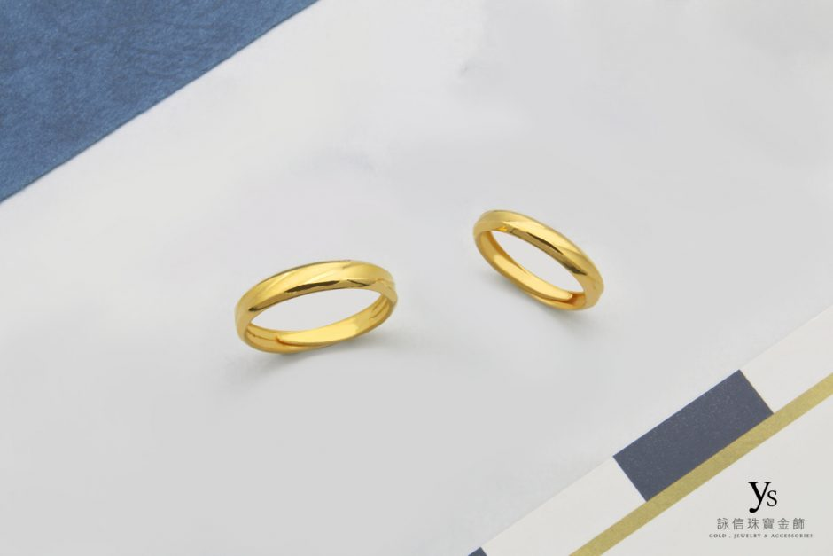 黃金對戒-極簡窄版純金對戒