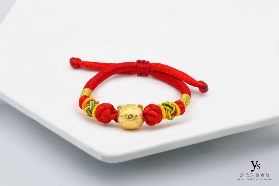 彌月金飾-黃金豬年中國結手繩