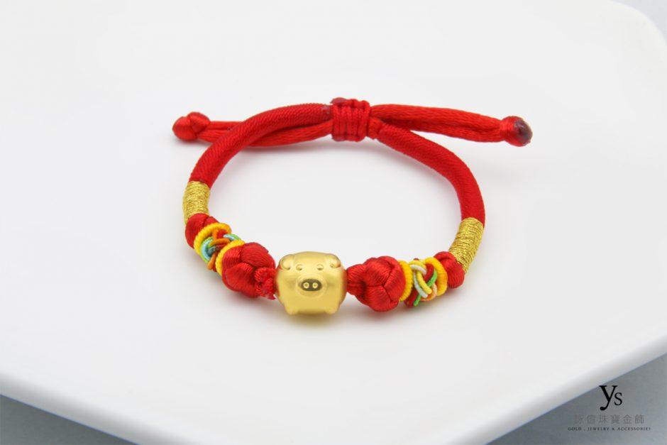 彌月金飾-黃金金豬中國結手繩