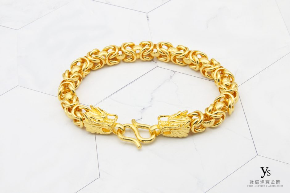 男生黃金手鍊-雙龍黃金手鏈