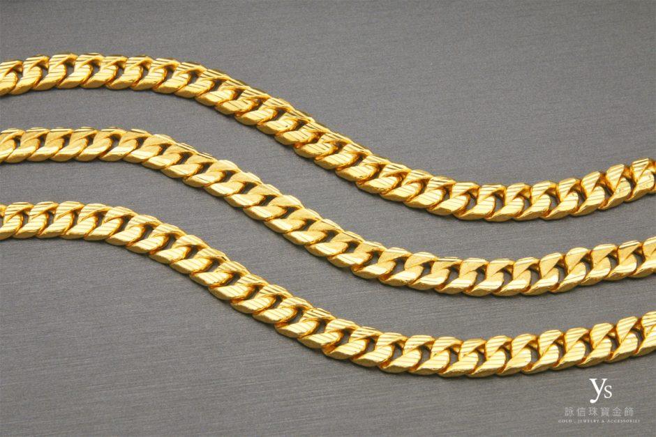 男生黃金手鍊-雙面單鱔黃金手鏈