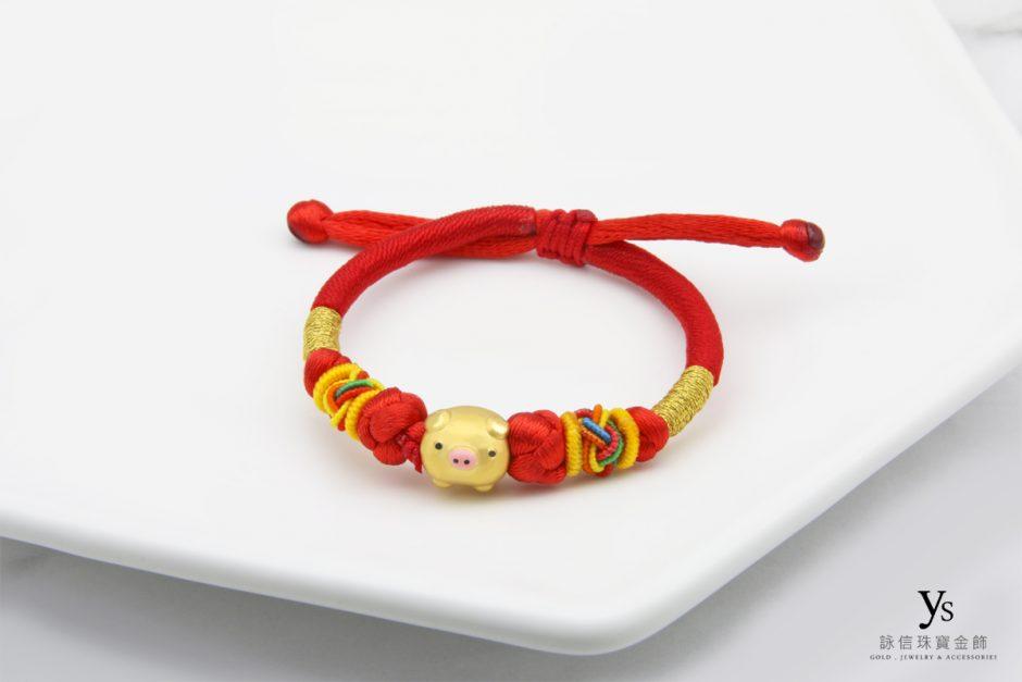 彌月金飾-黃金生肖豬年中國結手繩