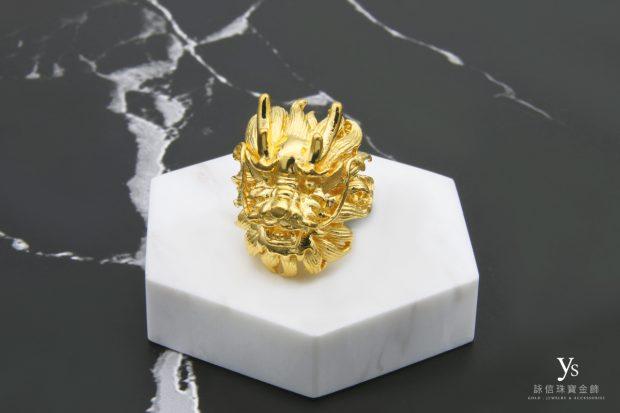 男生黃金戒指-黃金龍戒指