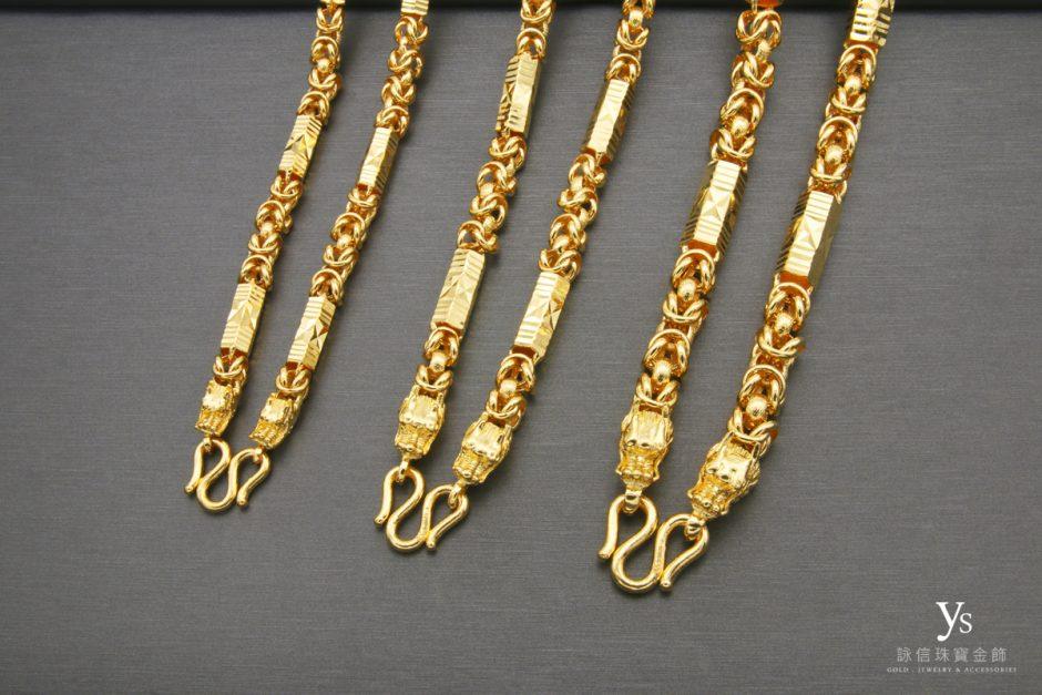男生黃金項鏈-六角雙龍黃金項鍊