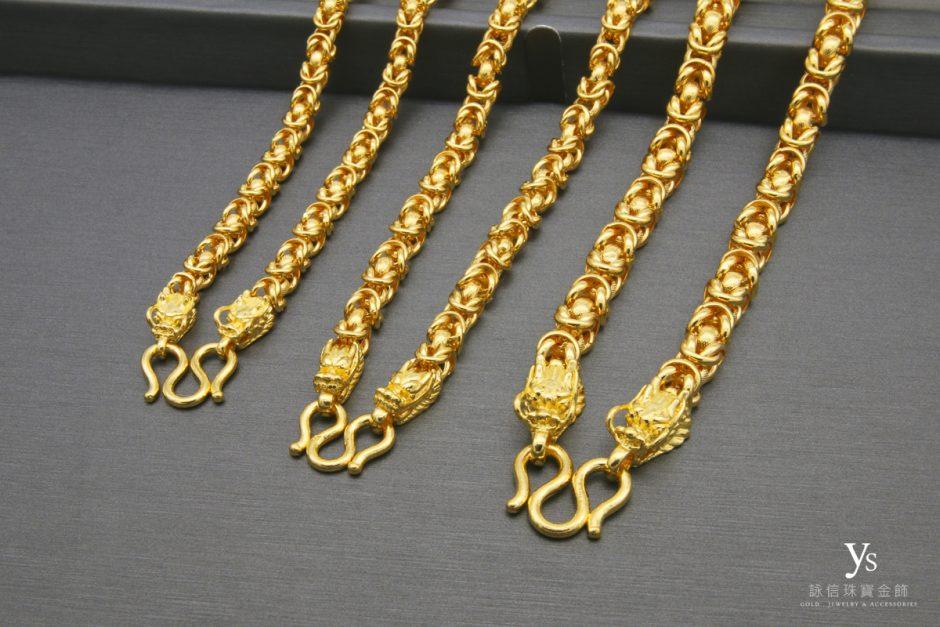 男生黃金項鏈-雙龍黃金項鍊