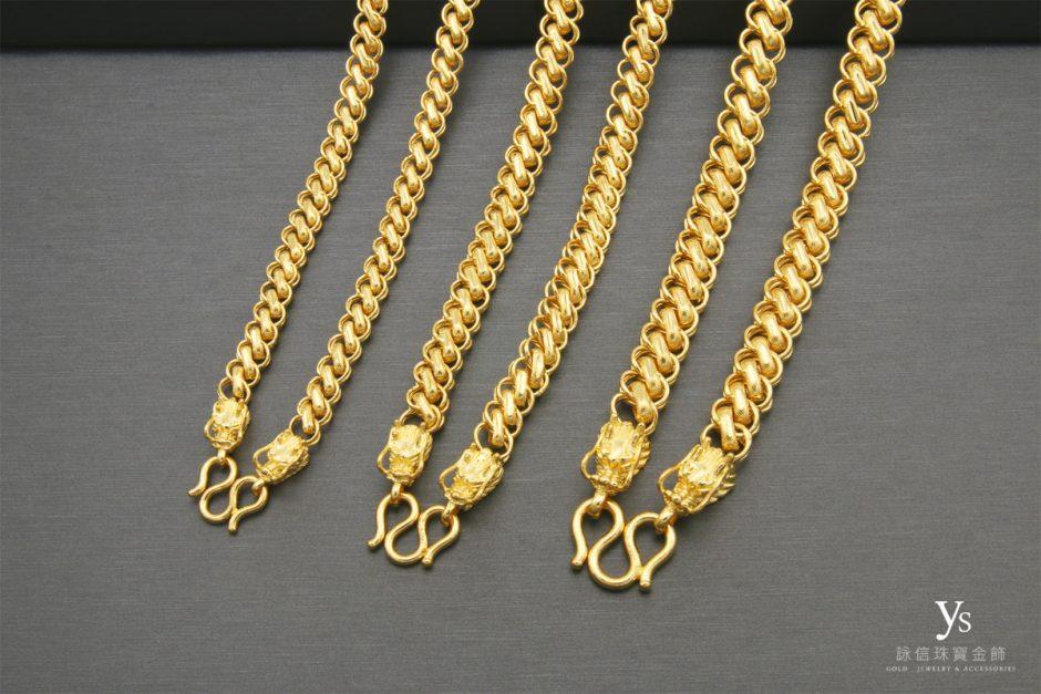男生黃金項鏈-雙龍龍頭黃金項鍊
