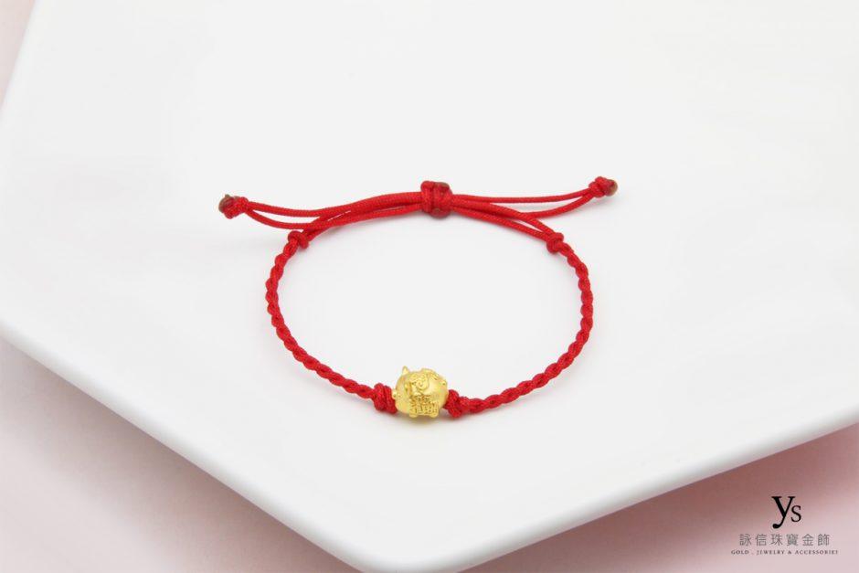 彌月金飾-迷你小豬中國結手繩
