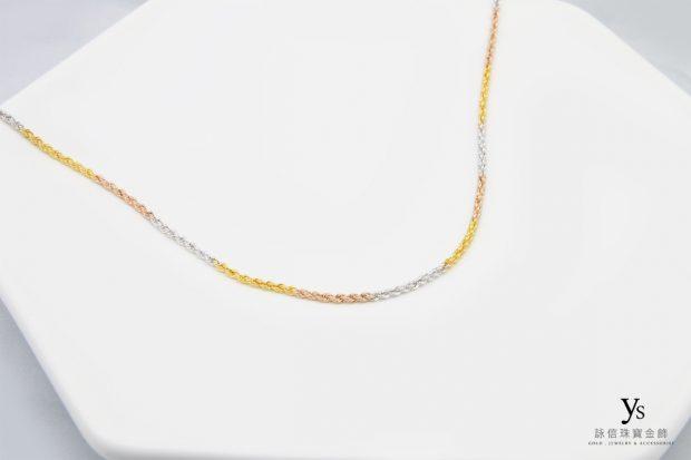 女生黃金項鍊-三色黃金項鏈