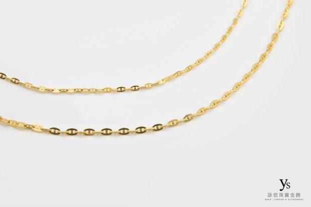 女生黃金項鍊-日字鍊、豬鼻項鍊