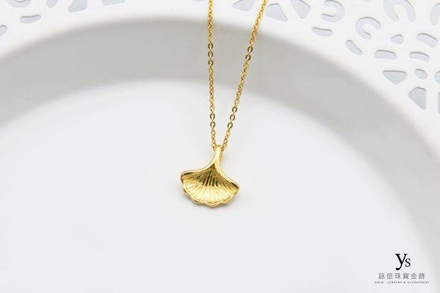 女生黃金項鍊-銀杏黃金項鏈