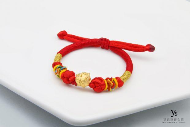彌月金飾-豬年中國結手繩