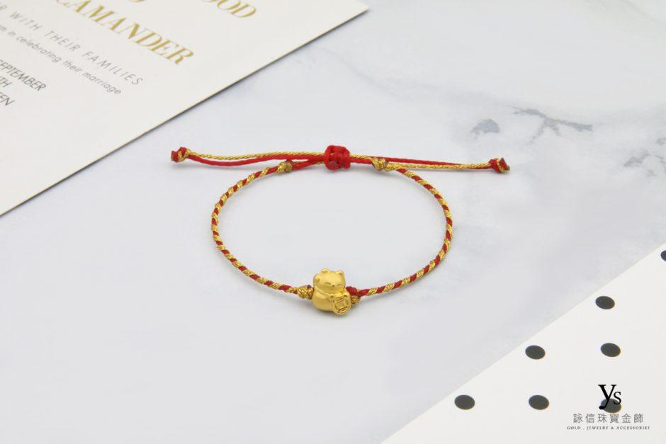 迷你黃金招財貓中國結手繩