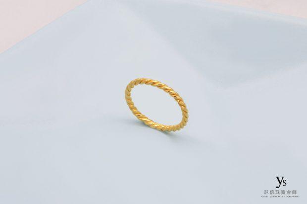 女生黃金戒指-麻花黃金尾戒