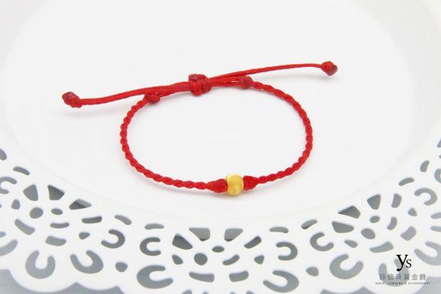 女生黃金手鍊-貓眼金珠黃金手繩