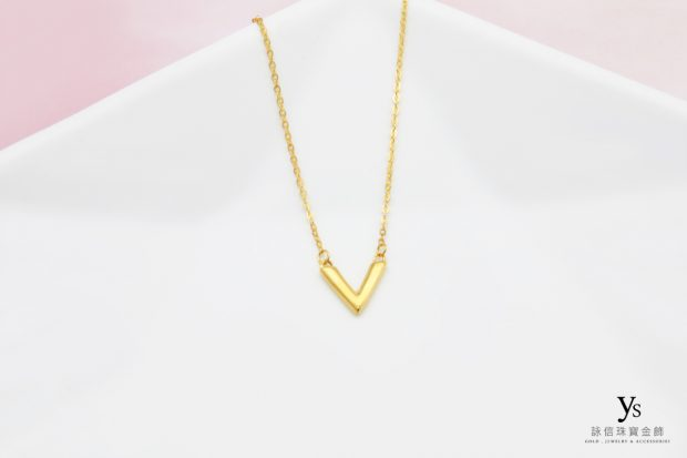 女生黃金項鍊-V字黃金項鏈