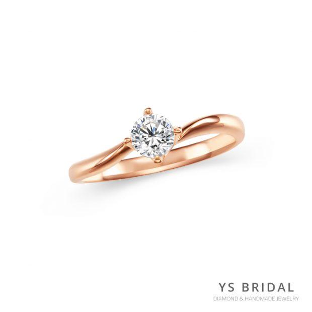 訂婚鑽戒-極簡線條四爪玫瑰金鑽戒
