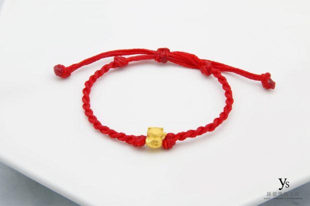 黃金手鍊-招財貓黃金手繩