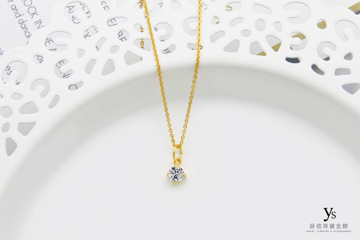 女生黃金項鍊-單鑽黃金項鏈