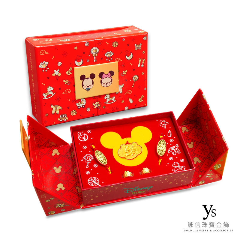 迪士尼系列金飾-米奇米妮黃金彌月禮盒五件組
