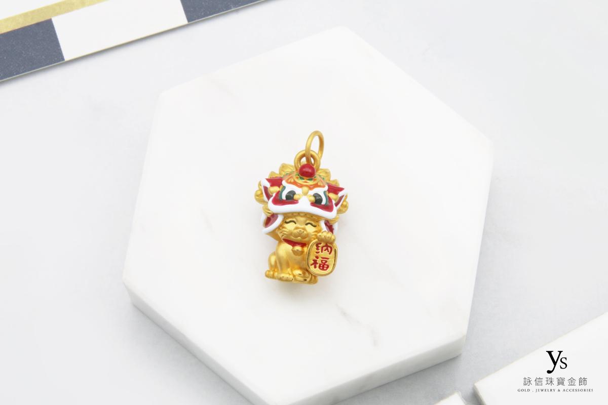 黃金墜子-招財貓黃金墜
