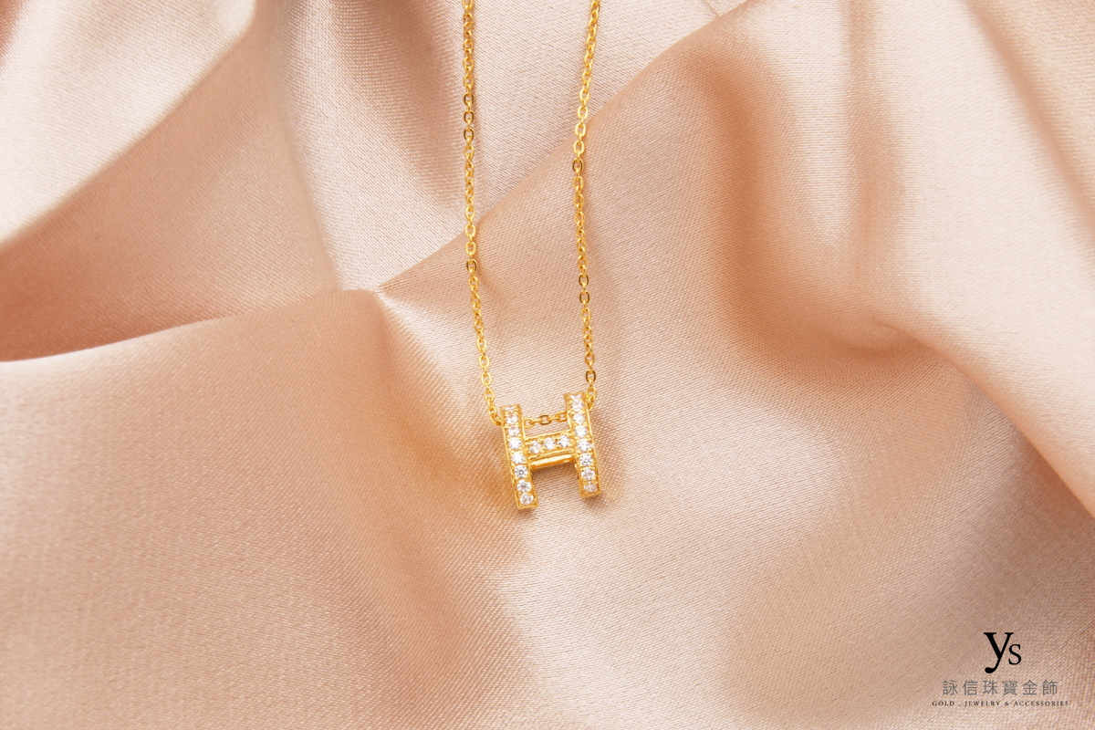 女生黃金項鏈-H鑲鑽黃金項鍊