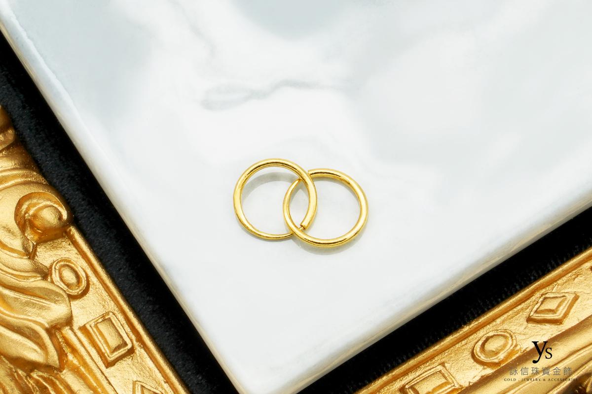 黃金耳環-C字純金耳環、圓圈黃金耳還