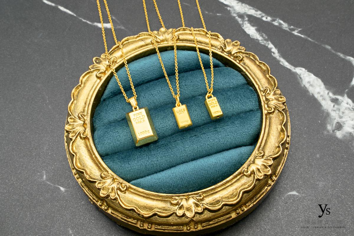 女生黃金項鏈-金塊墜黃金項鍊