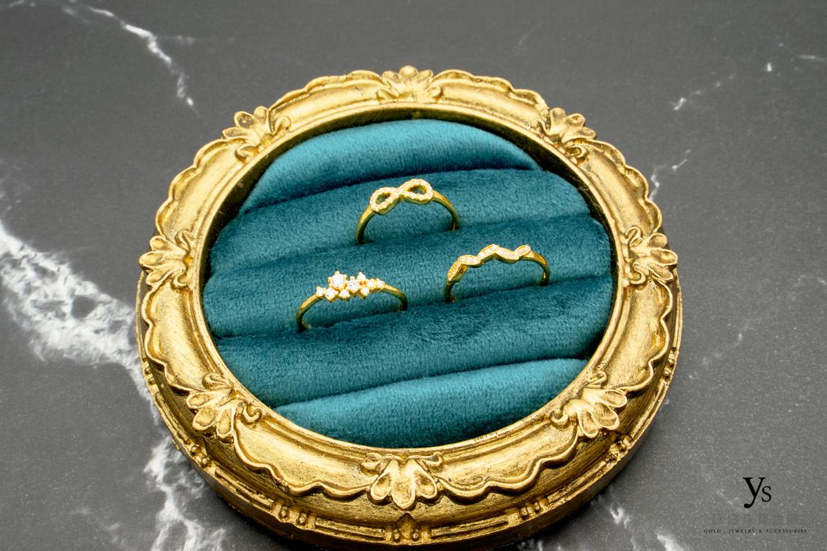 女生黃金戒-鑲石黃金戒