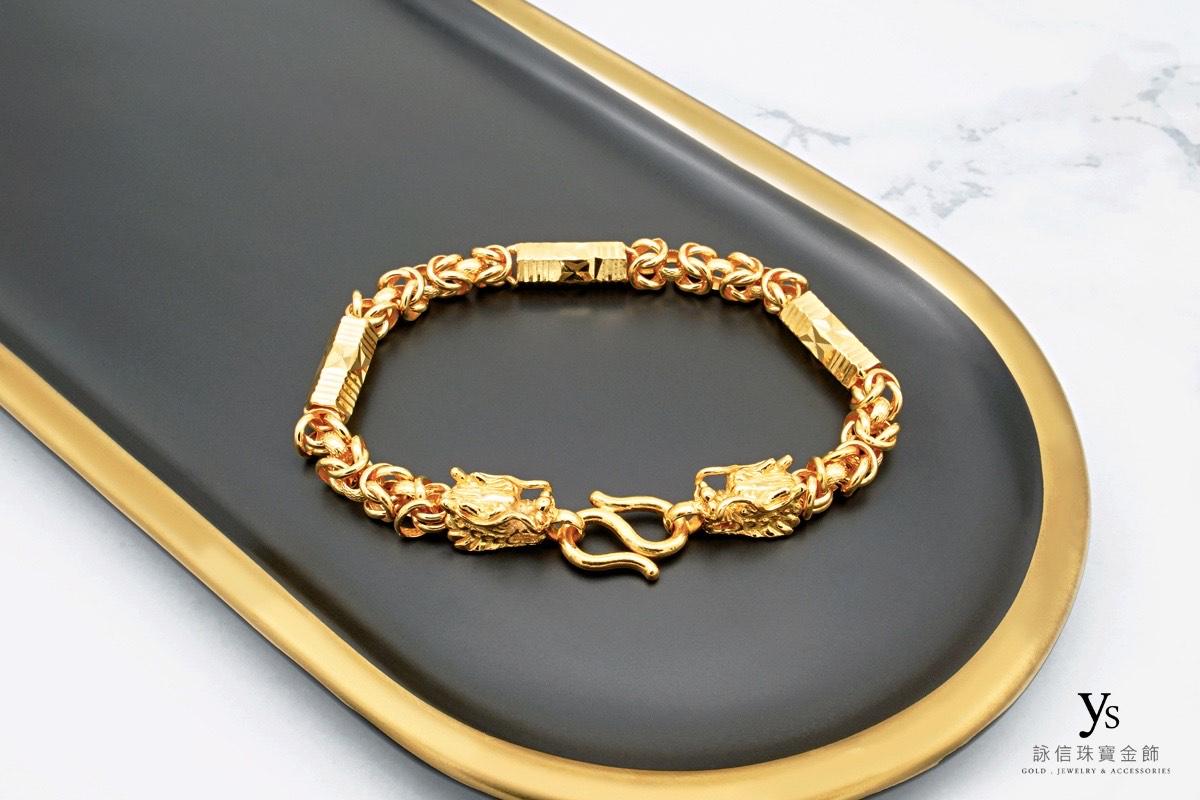 男生黃金手鍊-六角元寶雙龍黃金手鍊