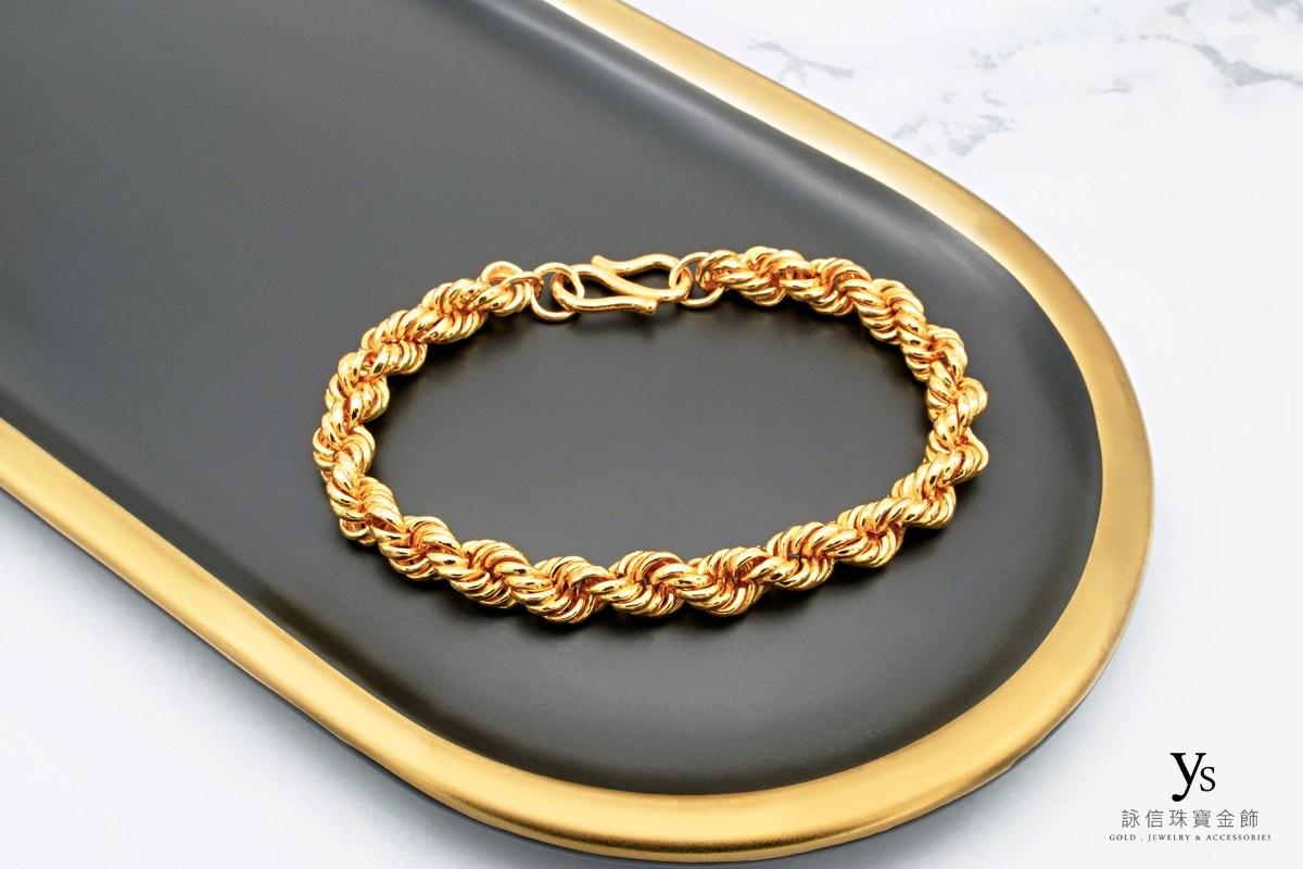 男生黃金手鍊-繩索黃金手鍊、麻花黃金手鍊
