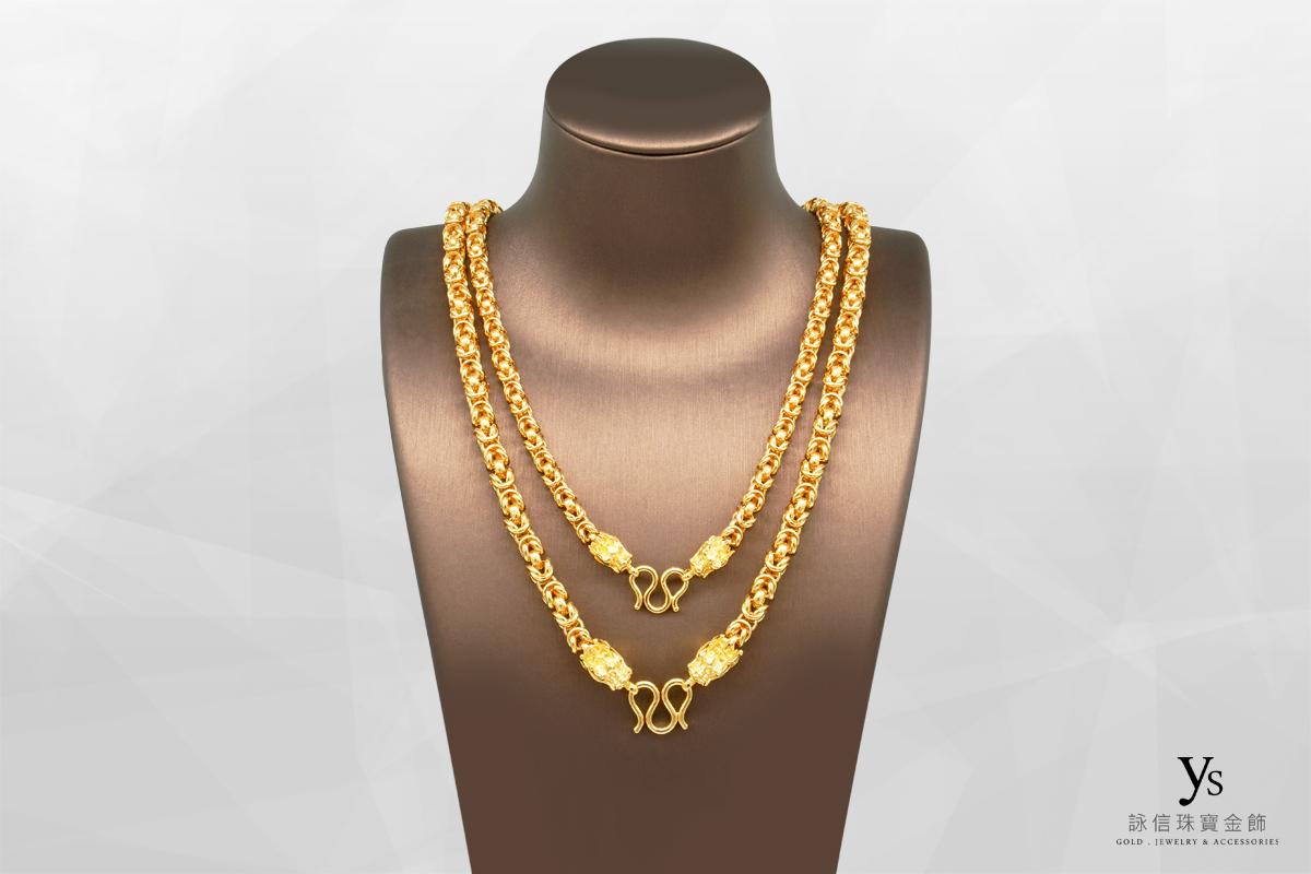 男生黃金項鍊-一兩五錢雙龍元寶鍊、二兩雙龍元寶鍊