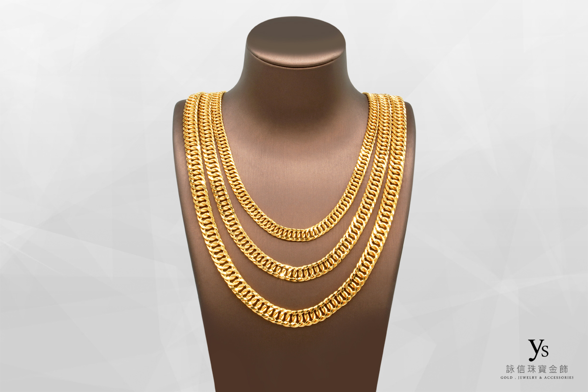 男生黃金項鍊-一兩雙鱔項鍊、一兩五錢雙鱔項鍊、二兩雙鱔項鍊
