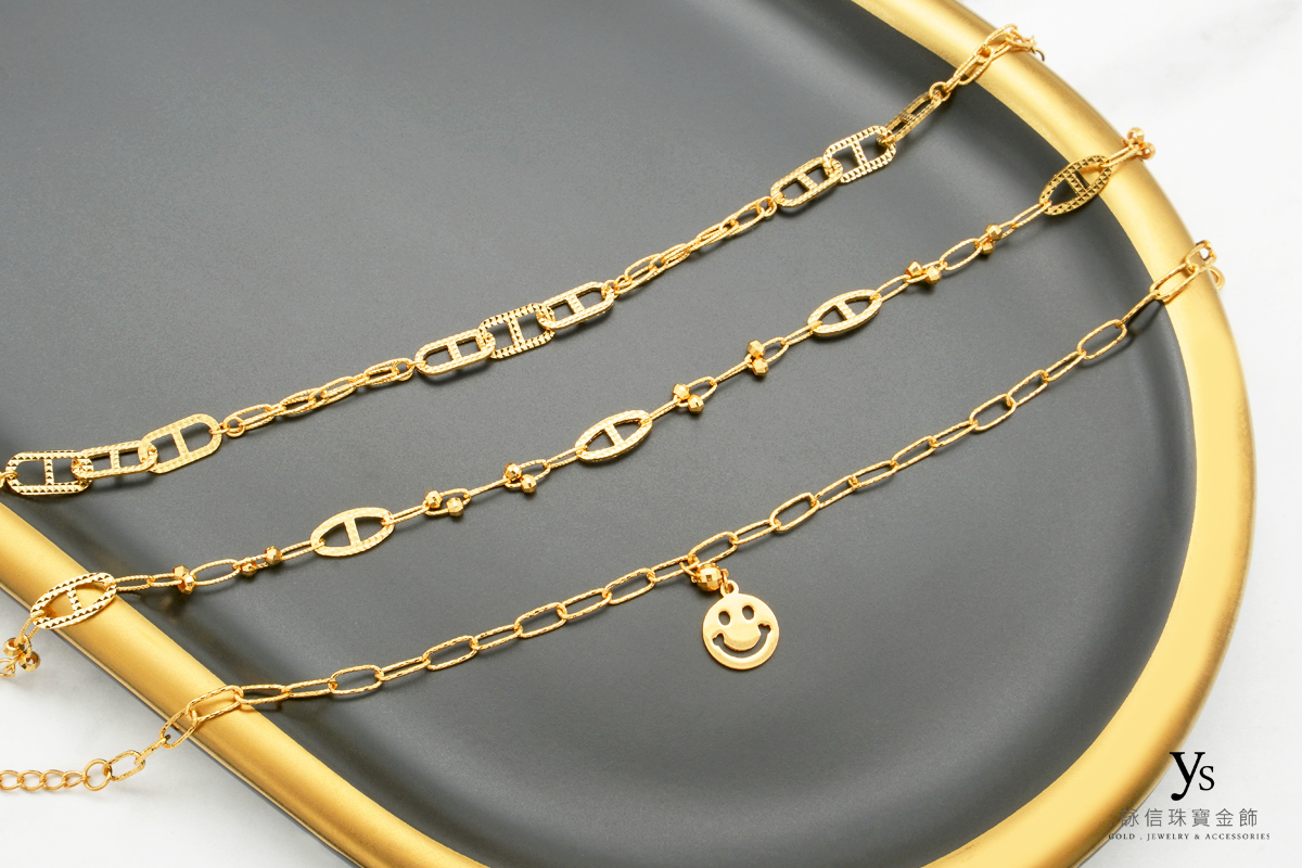 黃金手鏈-豬鼻黃金手鍊、笑臉黃金手鍊