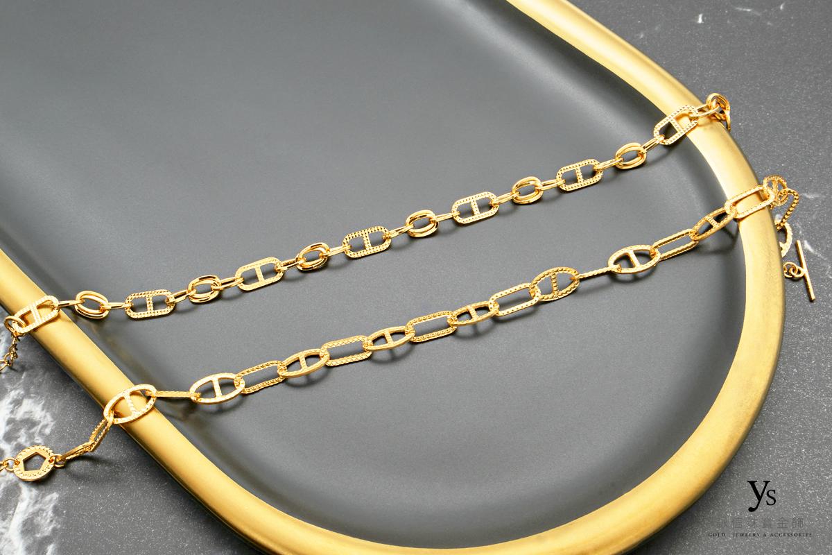 女生黃金手鏈-豬鼻黃金手鍊