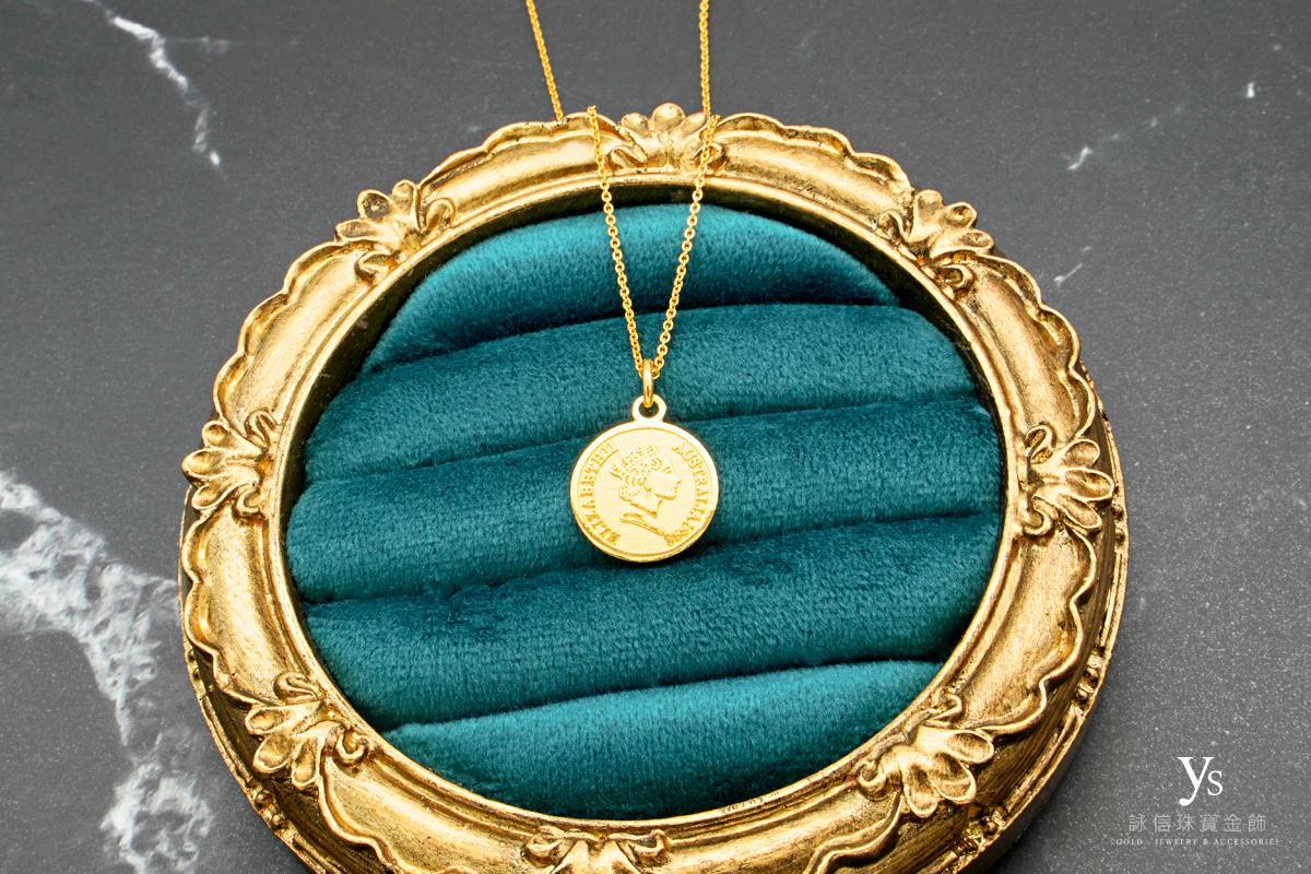女生黃金項鏈-女王黃金墜子