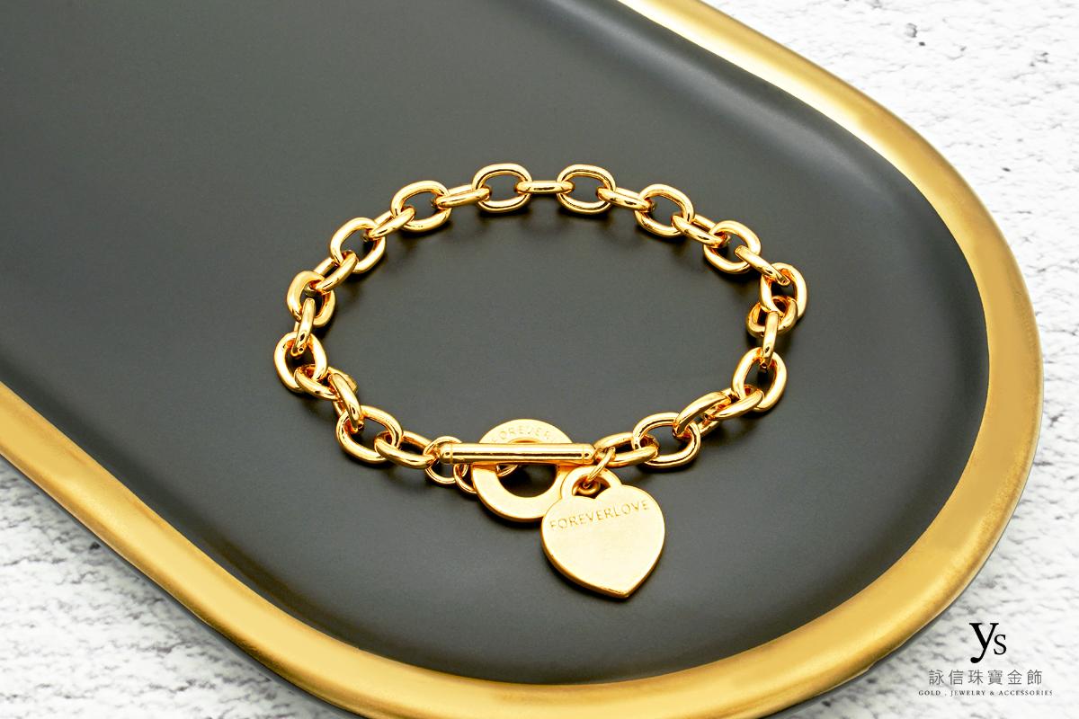黃金手鏈-女生愛心黃金手鍊
