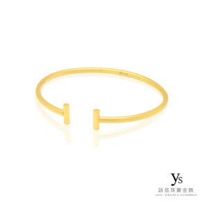 手工金飾-素面黃金手環(圓弧)