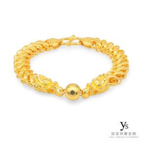黃金手鍊-雙龍搶珠黃金手鍊