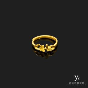 黃金尾戒-小碎花純金尾戒