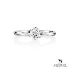 鉑金訂婚鑽戒-流線六爪鑽戒