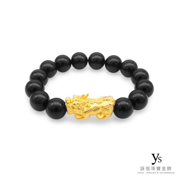 【男款】黃金貔貅手鍊-黑瑪瑙