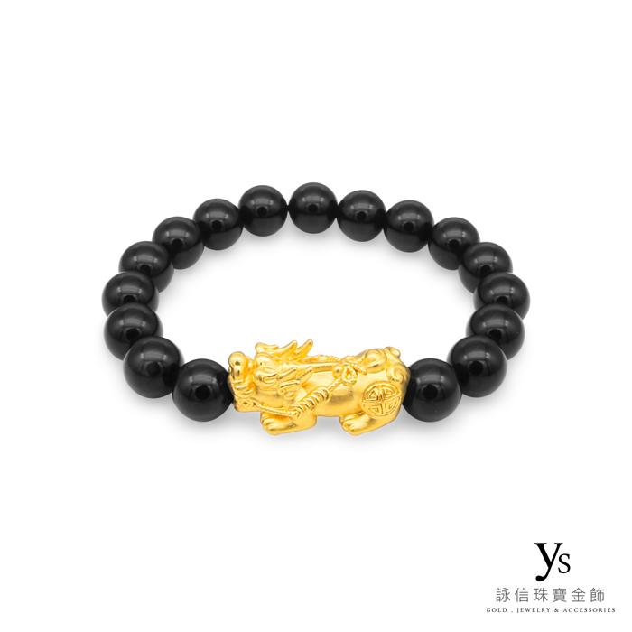 【男款】純金貔貅手鍊-黑瑪瑙