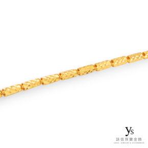 黃金項鍊-六角超亮面刻花黃金項鍊