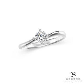 訂婚鑽戒-極簡線條四爪鉑金鑽戒