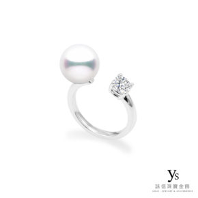 珠寶訂做-珍珠鑽石鉑金戒