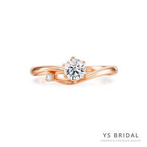 訂婚鑽戒-流線線條玫瑰金鑽戒